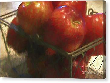 Basket Of Red Apples I Canvas Print by Cheryl Rose