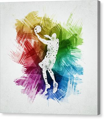Basketball Player Art 01 Canvas Print by Aged Pixel