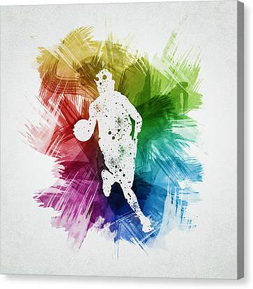 Basketball Player Art 02 Canvas Print by Aged Pixel