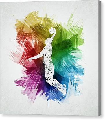 Basketball Player Art 03 Canvas Print by Aged Pixel