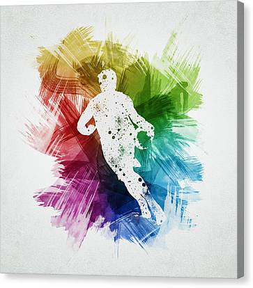 Basketball Player Art 08 Canvas Print by Aged Pixel