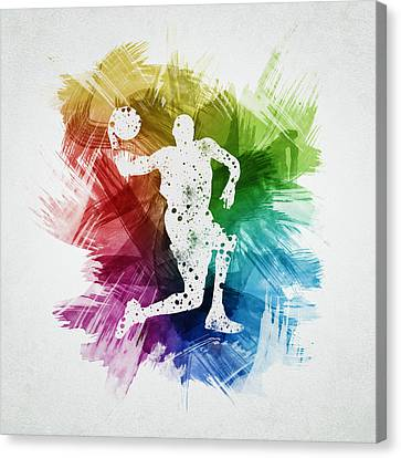 Basketball Player Art 12 Canvas Print by Aged Pixel
