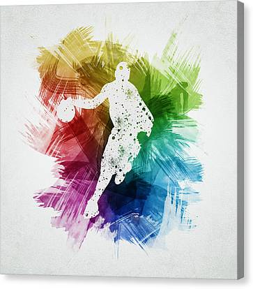Basketball Player Art 14 Canvas Print by Aged Pixel