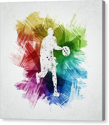 Basketball Player Art 16 Canvas Print by Aged Pixel