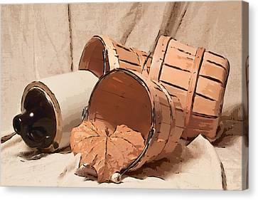 Baskets With Crock II Canvas Print by Tom Mc Nemar