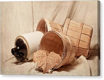 Baskets With Crock Canvas Print by Tom Mc Nemar