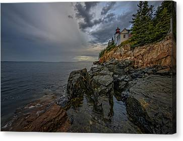 Down East Canvas Print featuring the photograph Bass Harbor Head Lighthouse At Dawn by Rick Berk