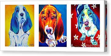 Basset Trio Canvas Print by Alicia VanNoy Call