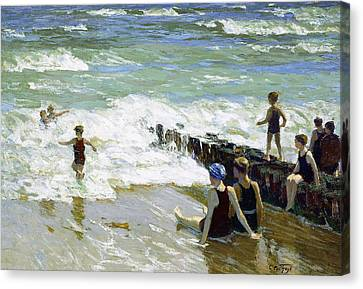 Bathers At Breakwater Canvas Print by Edward Henry Potthast