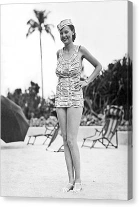 Bathing Suit Made Of Currency Canvas Print by Underwood Archives
