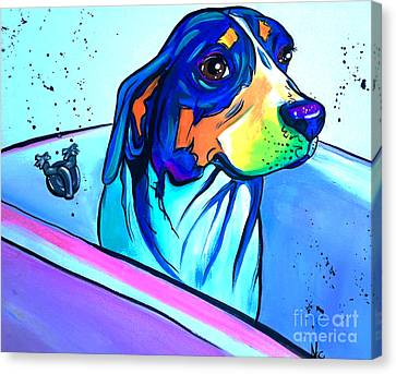 Bathtub Beagle Canvas Print by Abbi Cord