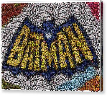 Batman Bottle Cap Mosaic Canvas Print by Paul Van Scott