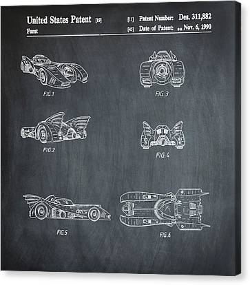 Batmobile 1990 Patent In Chalk Canvas Print by Bill Cannon