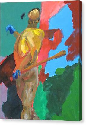 Batter Hitting The Baseball Canvas Print by Charles Schuch