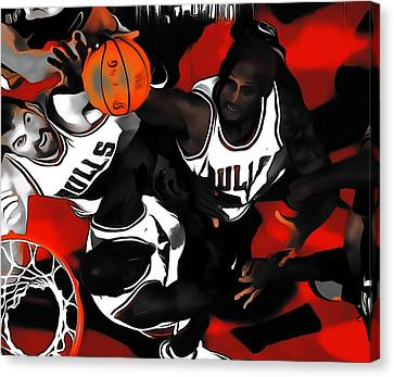 Battle For The Rebound Canvas Print by Brian Reaves