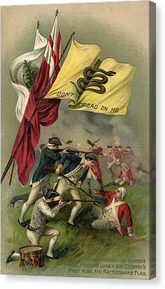 Battle Of Bunker Hill With Gadsden Flag Canvas Print by American School