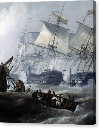 Battle Of Camperdown Canvas Print by George the elder Chambers