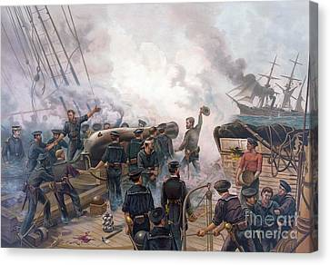 Battle Of Cherbourg Canvas Print by Julian Oliver Davidson