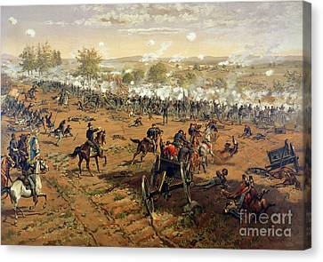 Battle Of Gettysburg Canvas Print by Thure de Thulstrup