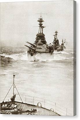 Battleships From A Battle Squadron Of Canvas Print by Vintage Design Pics
