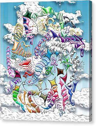 Battling Kites -- Blue Canvas Print by Mark Sellers
