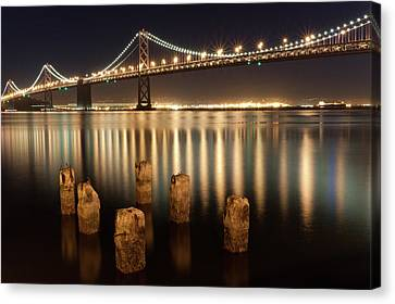Bay Bridge Reflections Canvas Print by Connie Spinardi