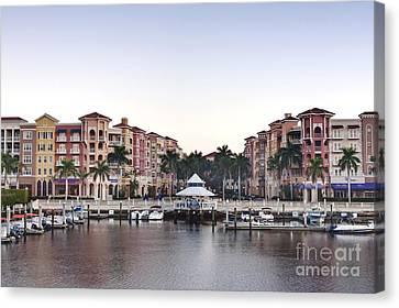 Bayfront Shopping Center And Marina Canvas Print by Rob Tilley