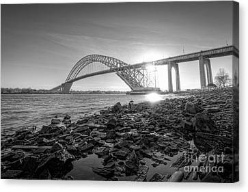 Bayonne Bridge Black And White Canvas Print by Michael Ver Sprill