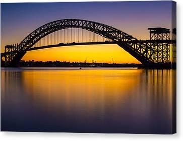 Bayonne Bridge Sundown Canvas Print by Susan Candelario