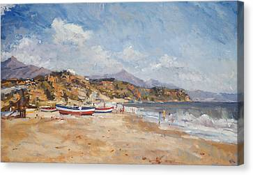 Beach And Mountains  Nerja Canvas Print by Christopher Glanville