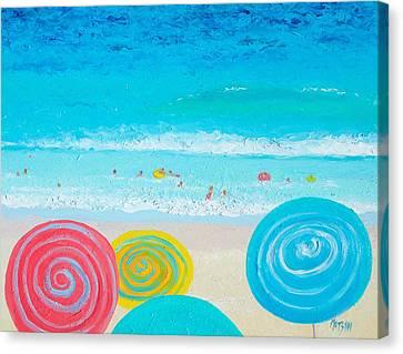 Beach Art - Lollipop Umbrellas Canvas Print by Jan Matson