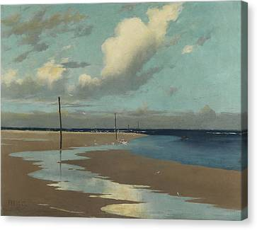 Beach At Low Tide Canvas Print by Frederick Milner