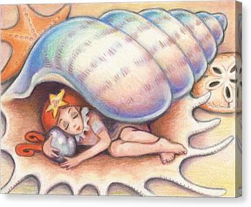Beach Babys Treasure Canvas Print by Amy S Turner