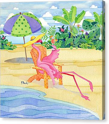 Beach Chair Flamingo Canvas Print by Paul Brent