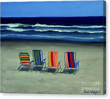 Beach Chairs Canvas Print by Paul Walsh