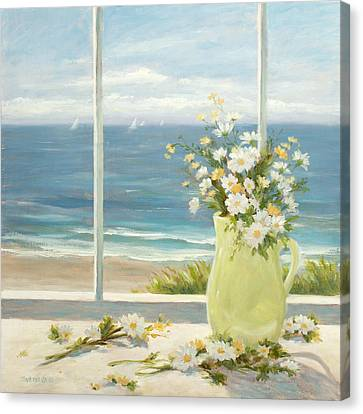 Beach Daisies In Yellow Vase Canvas Print by Tina Obrien