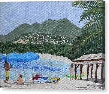 Beach Day At Le Galion Canvas Print by Margaret Brooks