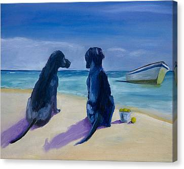 Beach Girls Canvas Print by Roger Wedegis