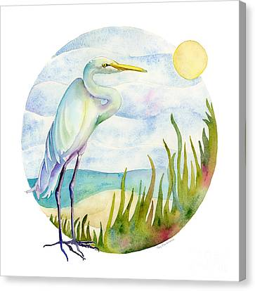 Beach Heron Canvas Print by Amy Kirkpatrick