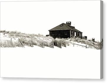 Beach House - Jersey Shore Canvas Print by Angie Tirado