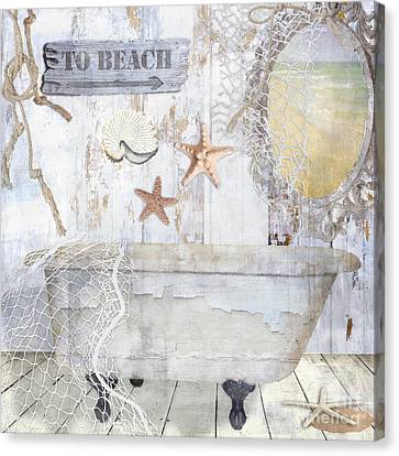 Beach House Bath Canvas Print by Mindy Sommers