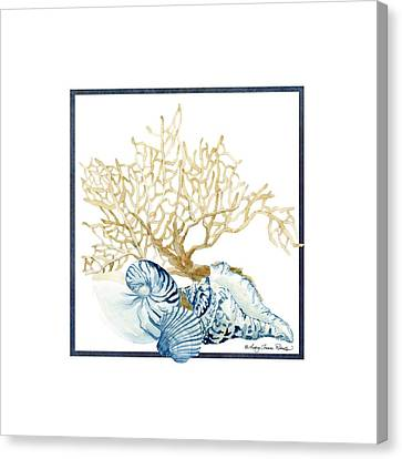 Beach House Nautilus Scallop N Conch With Tan Fan Coral Canvas Print by Audrey Jeanne Roberts