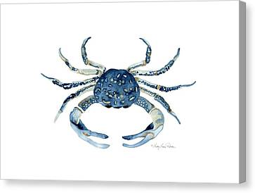 Beach House Sea Life Blue Crab Canvas Print by Audrey Jeanne Roberts