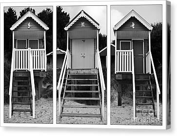 Beach Hut Triptych Canvas Print by John Edwards