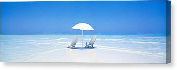 Beach, Ocean, Water, Parasol And Canvas Print by Panoramic Images