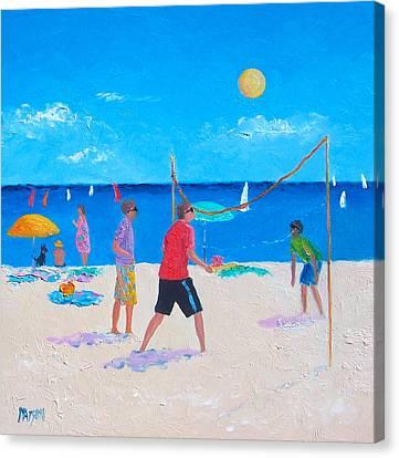 Beach Painting Beach Volleyball  By Jan Matson Canvas Print by Jan Matson