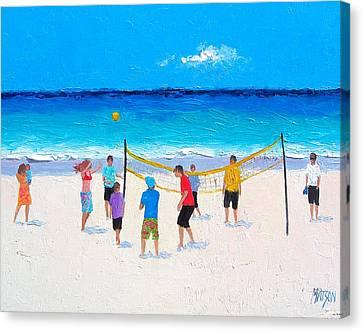Beach Painting - Beach Volleyball   Canvas Print by Jan Matson