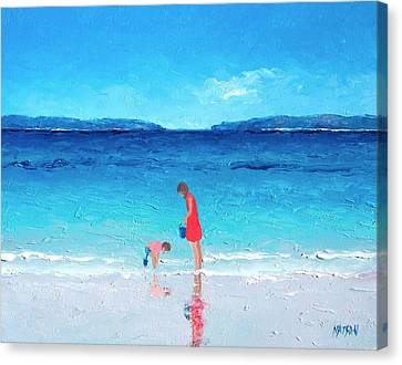 Beach Painting - Cooling Off Canvas Print by Jan Matson