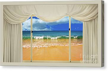 Beach Paradise From Your Home Or Office By Kaye Menner Canvas Print by Kaye Menner