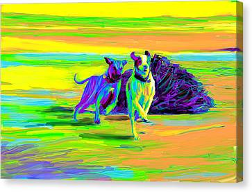 Beach Race Canvas Print by Karen Derrico